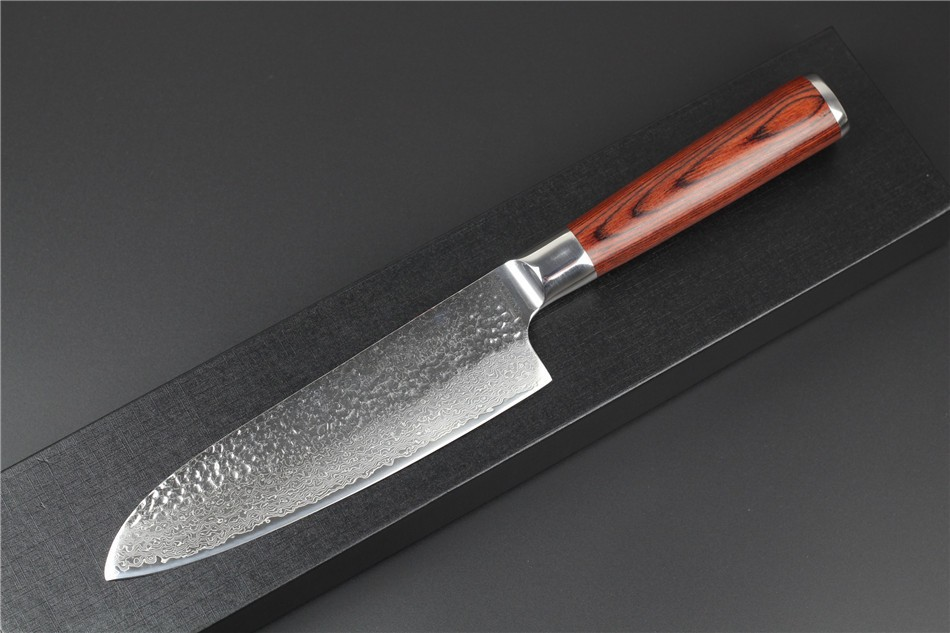 """Buy XINZUO 73 layers 7"""" chef knife Japan Damascus steel kitchen knife japanese santoku knife with Color wood handle free shipping cheap"""