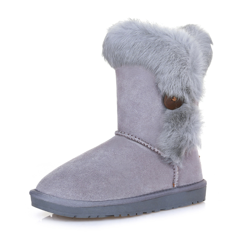 Free shipping new snow boots Girls tube real rabbit fur one button cotton-padded shoes warm winter boots female mouth(China (Mainland))