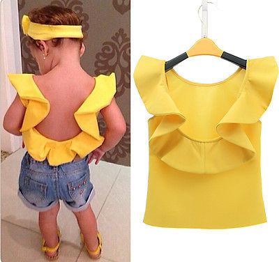 Baby Girls LOVELY Sleeveless Shirt Summer T shirt Tops Backless<br><br>Aliexpress