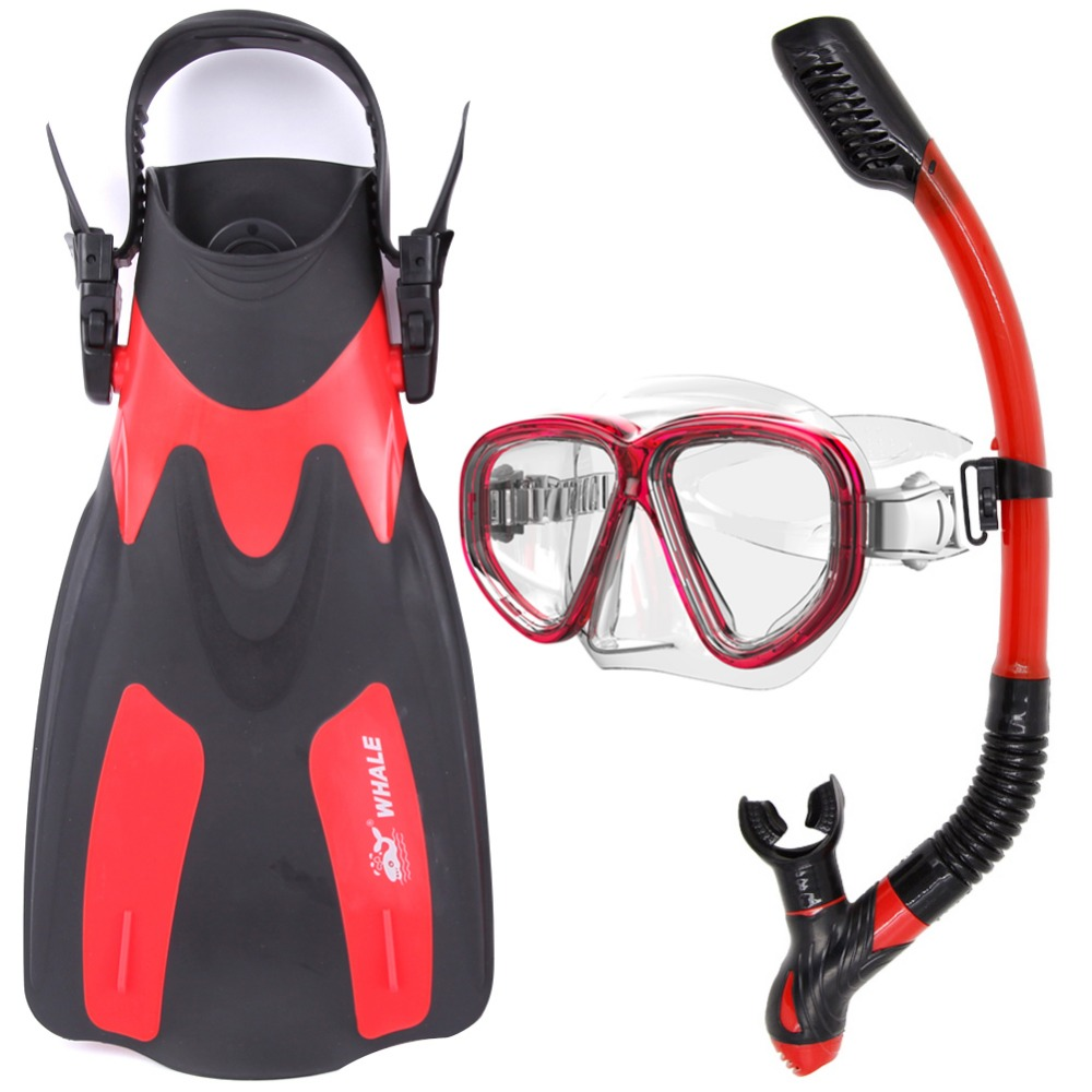 Whale Adult Adjustable Submersible Diving Fins Snorkeling Flipper Swimming Scuba Diving Mask and Snorkel Set Equipment 2 Size(China (Mainland))