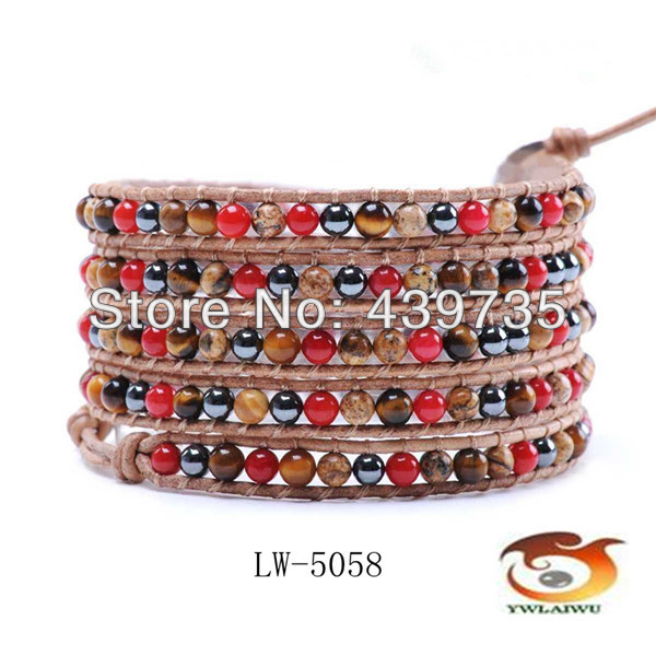 Natural semi precious Coral stone black gallstone leather beaded Multi wrap bracelets retail LW-5058 - Jubao ni jewelry store