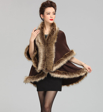 Good Quality Fashion Occident Style Cashmere Raccoon Fur Coat Women Long Faux Fur Shawl Cloak Knitted Sweater Cardigan(China (Mainland))