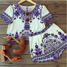 Buy 2015 Summer 2 piece set women shorts top plus size short sleeve crop top blouse t shirt+elastic waist shorts suits clothing for $10.44 in AliExpress store