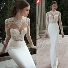 Buy 2016 Elegant Sexy Wedding Dresses Satin Bridal & Events Gowns Vestidos De Noiva New Arrival Long Sleeve Sheer Lace Mermaid Gown for $51.20 in AliExpress store