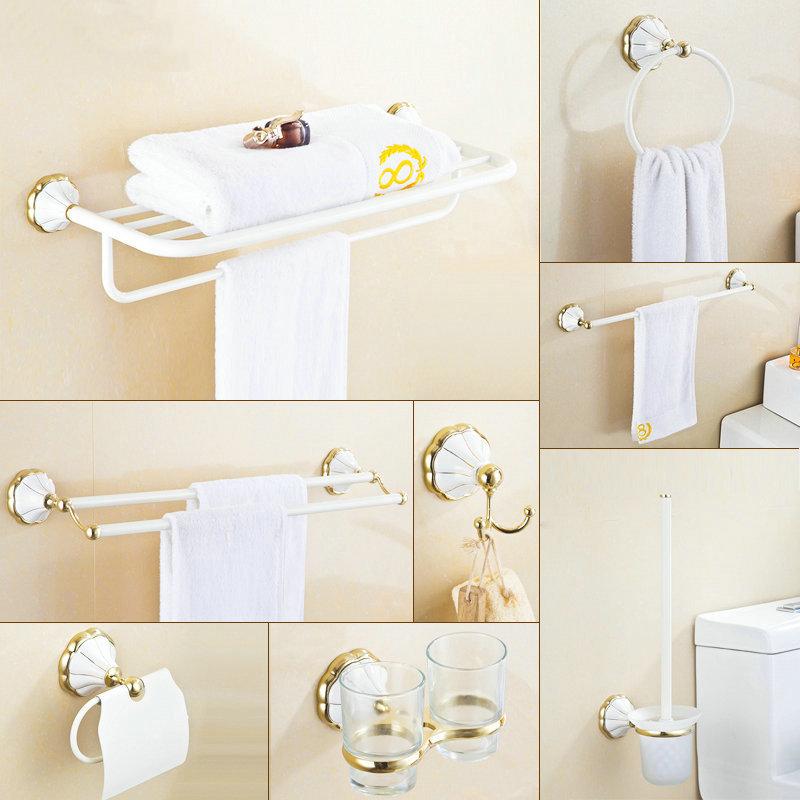 Golden White Painted Lotus Base Towel Shelf Towel Bar Paper Holder Cloth Hook Bath Hardware Set BS01(China (Mainland))