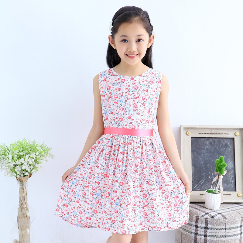 High Quality 2016 New Summer Kids Girls Dresses Floral Bow Cotton Child Party Princess Tank Girl Dress Sundress For 3-12 Years(China (Mainland))