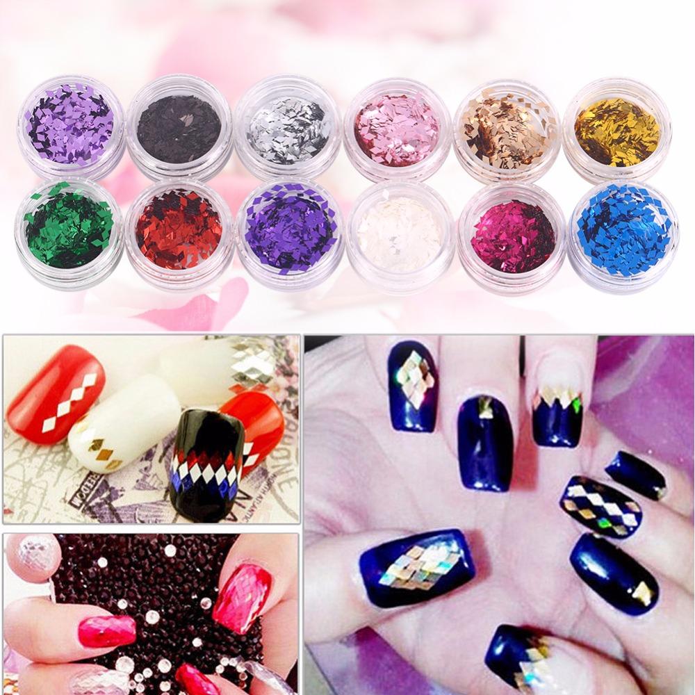 Acrylic Powder Dust Nail Art Glitter Sequin Paillette Shining 3D Manicure Tips Nail Art Decorations 12Bottles/Set(China (Mainland))