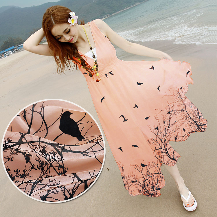 1 meter 100% silk chiffon printing nude fabric 6 momme bird on the tree pattern 135 cm us$18/meter scarf fashionable dress full(China (Mainland))