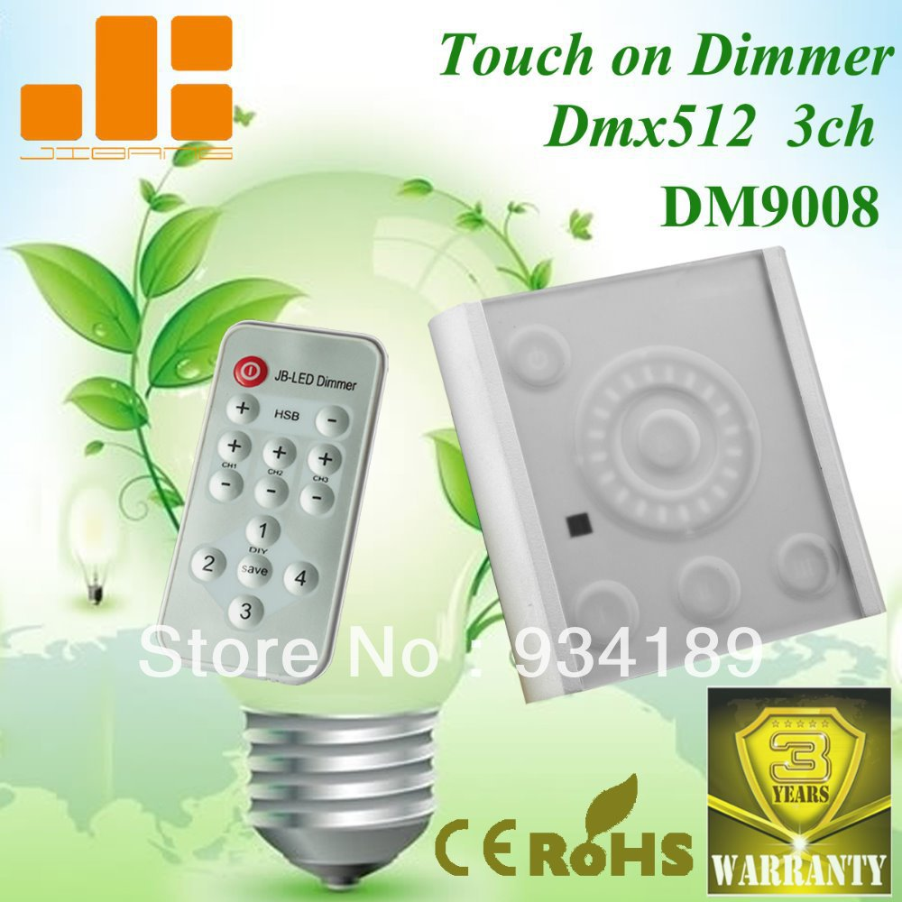 Free Shipping DMX512 LED RGB CONTROLLER Touch IR REMOTE CONTROLLER 3 Channels DC12-24V Model:DM9008(China (Mainland))
