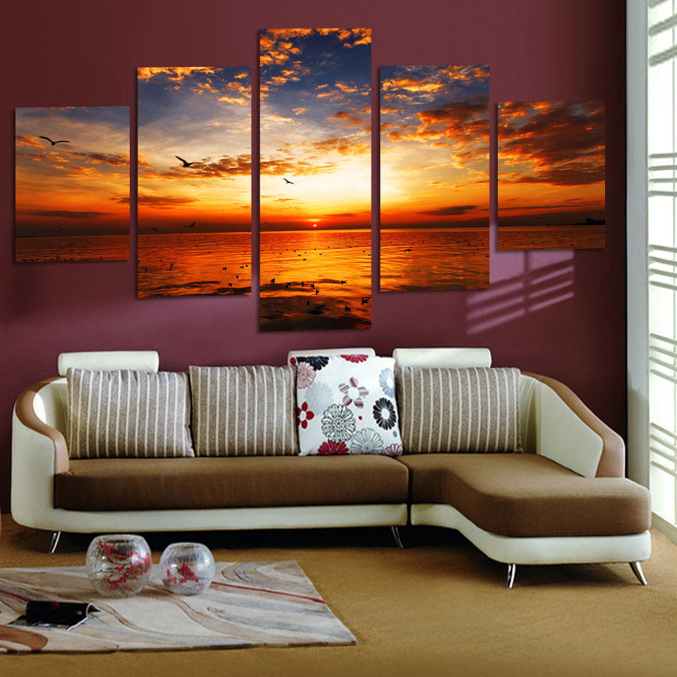 Free Shipping 5 Panels Sea View Canvas Painting Home Decor For Living Room Canvas Art Printed On