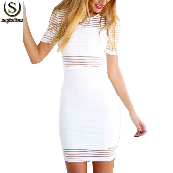 Sexy Club Wear Ladies Elegant White Short Sleeve Sheer Striped Bodycon Zipper Back Mini Summer Vestidos Round Neck Dress(China (Mainland))