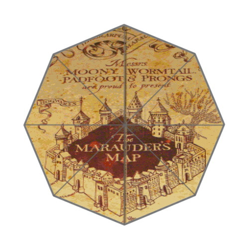 Harry Potter Hogwarts Map Inspired Design Background Triple Folding Umbrella!43.5 inch Wide!Perfect as Gift!(China (Mainland))