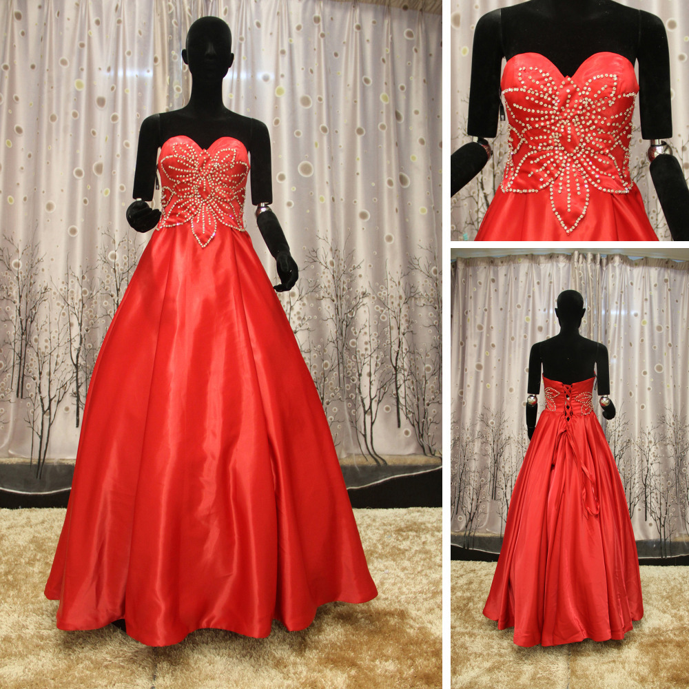 Wr046 sweetheart neckline puffy red ball gown red and for Wedding dresses white and red