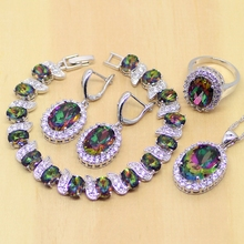 Mystic Rainbow Fire Created Topaz Jewelry Sets Women 925 Sterling Silver Jewelry Earrings/Pendant/Necklace/Rings/Bracelet T200(China (Mainland))