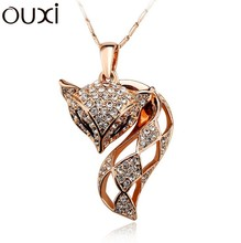 NLA303 Miss Fox Pendant  Made With Top Austrian Crystal Thick 18K Gold Plated Free Shipping