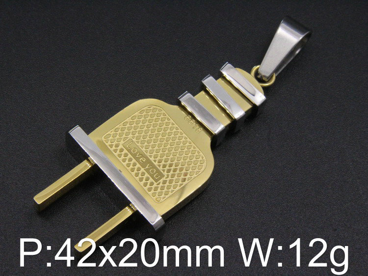 Hot Selling Stainless Steel Jewelry Popular electric plug Pendants For Men PERCBTBB(China (Mainland))