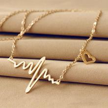 Simple Wave Heart Necklace Chic Ecg Pulse Gold Plated Charm Pendant Necklace Lightning Women Vintage Jewelry Accessories(China (Mainland))