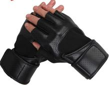 New 2014 PU Leather Gym Gloves Fitness Body Building Exercise Training Weight Lifting Gloves For Men