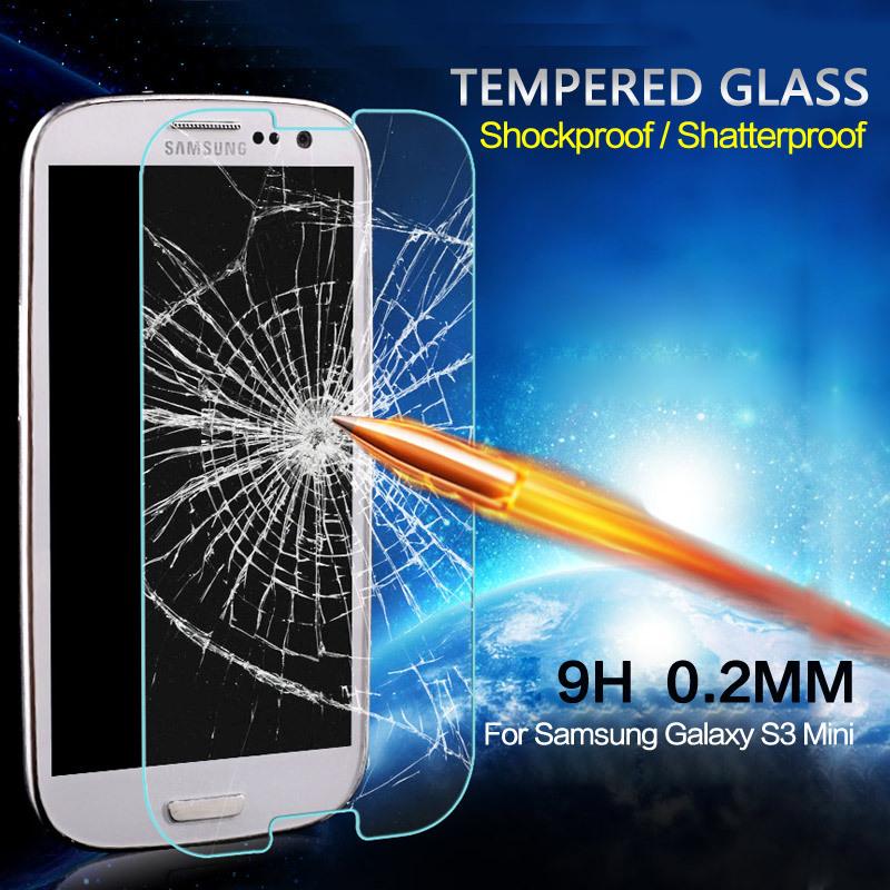 Гаджет  0.2mm 9H Vertical Edge Shatterproof Tempered Glass Screen ProtectorFor Samsung Galaxy S3 Mini Front Film Phone Cases None Телефоны и Телекоммуникации