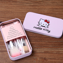 HELLO KITTY mini brush kit pink 7pcs set Professional makeup brushes beauty maquiagem make up pincel maquiagem Free Shipping
