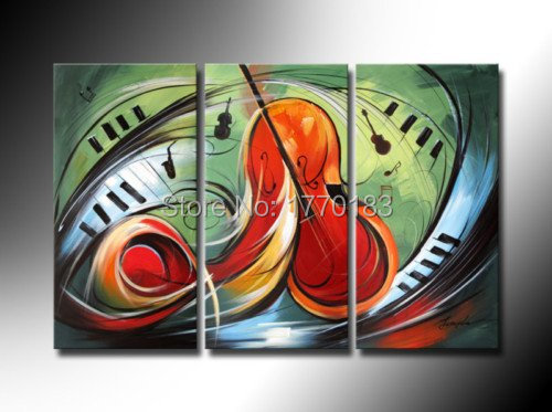 100% Hand Painted Modern Abstract Art oil Painting of Music Picture Guitar Bedroom Decor Green Red Canvas 3 Piece Wall Art Sets(China (Mainland))