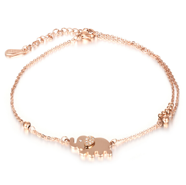 Girls anklets rose gold-plated titanium steel elephant stone double anklet designs leg bracelet(China (Mainland))