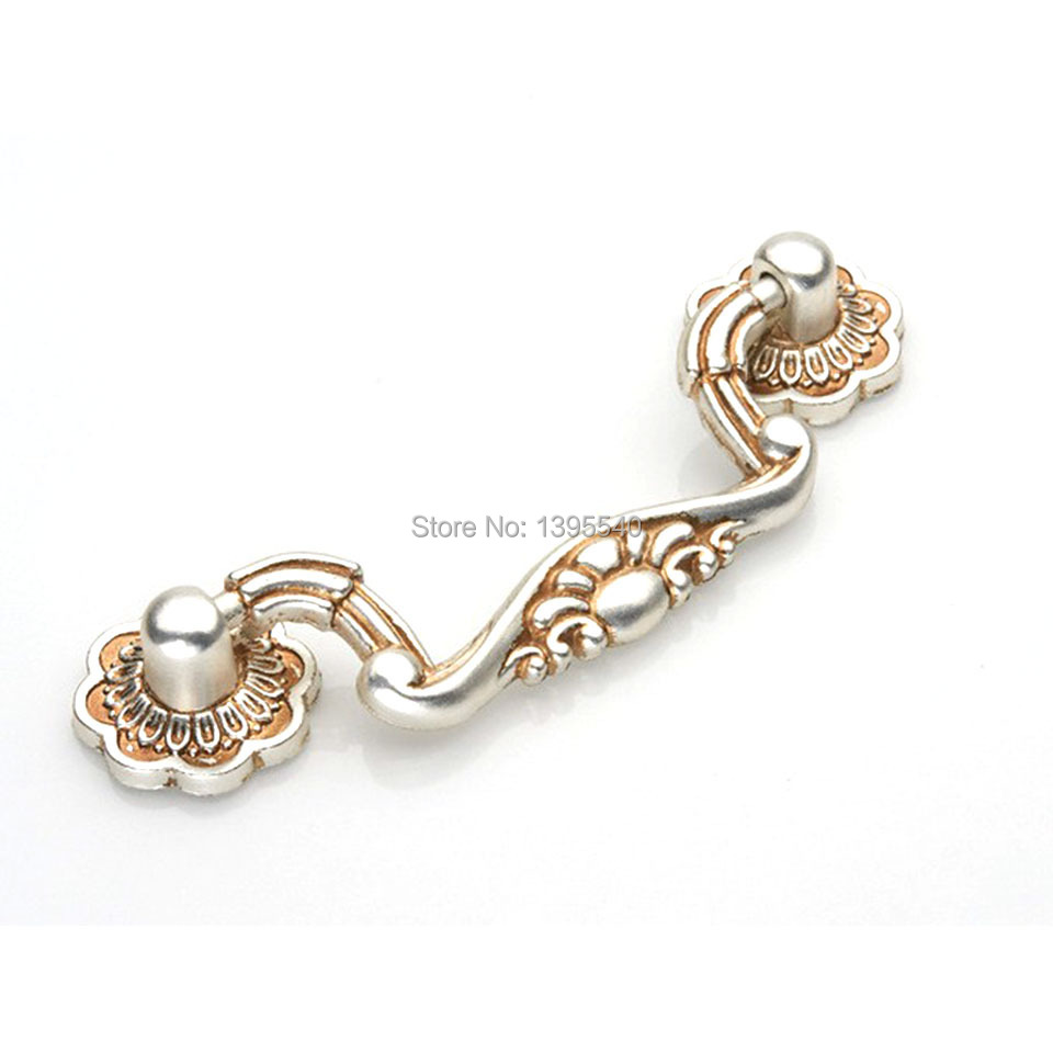 New 2pcs 76mm Antique Cabinet Drawe Handle Kitchen Handles Silver Knos Euro-Style Vintage Wardrobe Knobs Drawer Knobs Bars Pulls(China (Mainland))