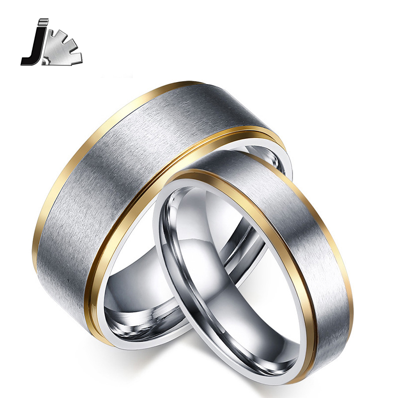 Simple 18K gold plated stainless steel lovers promise ring couple wedding rings for women men lovers jewelry GG265(China (Mainland))