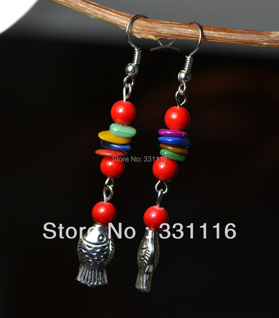 Handmade national trend vintage accessories tibetan jewelry dollarfish silver earrings tibet jewelry