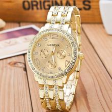 Buy 2017 New Famous Brand Gold Crystal Geneva Casual Quartz Watch Women Stainless Steel Dress Watches Relogio Feminino Men Clock Hot for $4.99 in AliExpress store