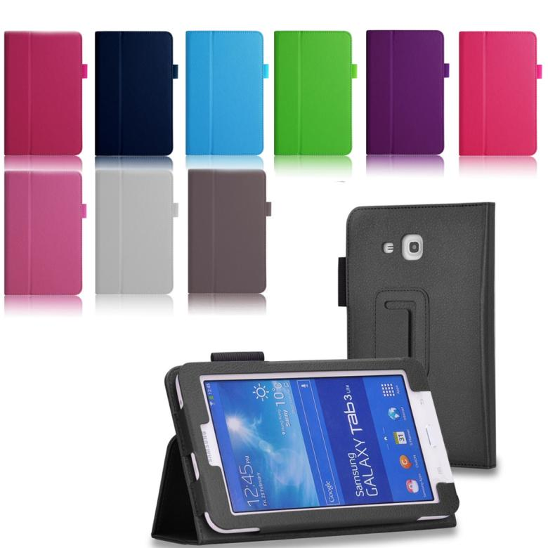 For Samsung Tab 3 tablet cover For Samsung Galaxy Tab 3 Lite T110 PU Flip Stand Pouch Bag Case Cover Leather(China (Mainland))