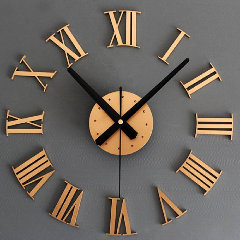 2016 Wall Clock DIY Large Home Decoration Clock Wall Watch Decorative 3D Wall