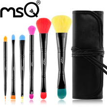 MSQ Brand 6Pcs Professional Cosmetics Top Quality Synthetic Hair And Wood Handle + Multi-Color Makeup Brushes Set For Beauty