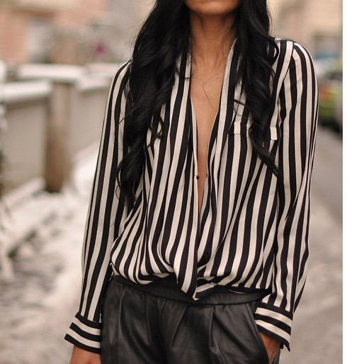 New fashion women blouses black and white striped blusas for Black and white striped long sleeve shirt women