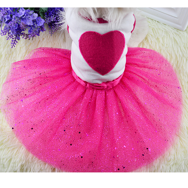 Latest Korean Designer Fashion Styles Sequin Applique Box Pleated Tulle Underskirt Small Dog Princess Puppy Party Heart Dresses(China (Mainland))