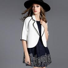 2015 Winter Women s European Black Stripes Edging Short Section Of Small Shawl Jacket