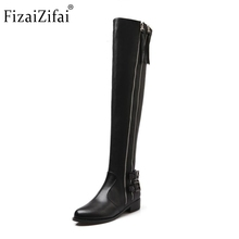 Buy Women Genuine Real Leather Knee Boots Winter Boots Sexy High Heel Round Toe Zipper Fashion Buckle Women Boots Shoes Size 34-39 for $58.53 in AliExpress store