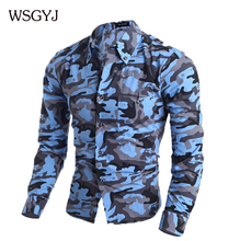 Camisa Masculina 2015 Fashion Men'S Long Sleeve Camouflage Shirt, Male Leisure Brand Chemise Homme Men Shirt M ~ XXL HGA454