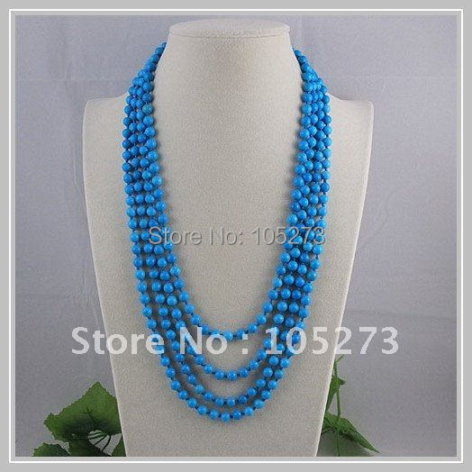 wholesale Elegant blue turquoise necklace beautiful fashion woman's jewelry round shaper turquoise necklace 4rows hot sale A1614