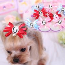 10pcs/lot Ribbon Dog Hair Bows Mixed Grooming Bows Handmade Pet Hair Accessories Rhinestones and pearl Multilayer Dog Hairpins(China (Mainland))