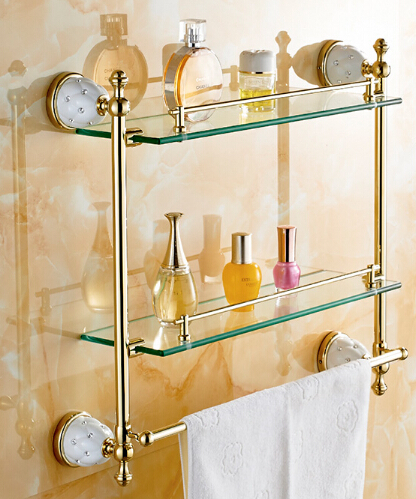Glass shelves bathroom