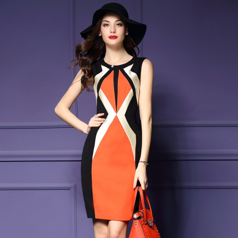 woman dress summer 2016 new spring High quality plus size s xl xxxl Clothing elegant party dress Vintage Sleeveless work dresses(China (Mainland))