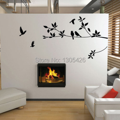 Tree and Bird Wall Stickers Vinyl Art Decals(China (Mainland))
