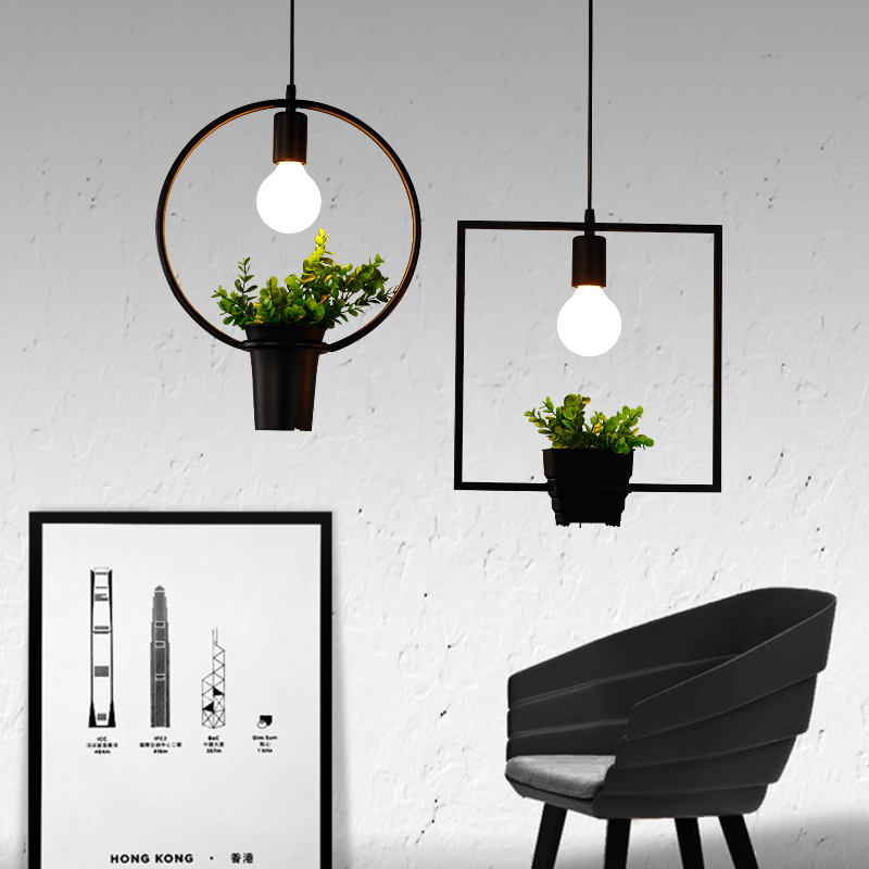 Modern Wrought Iron Flower Pot Plants Potted Studio Cafe Iron Frame Pendant Lamp(China (Mainland))