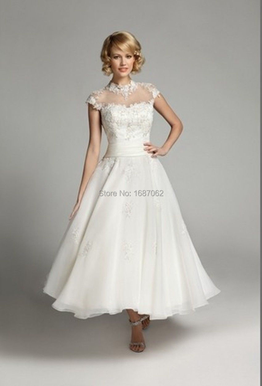Wedding dresses robe de mariage gelinlik vintage style for Vintage wedding dresses tea length