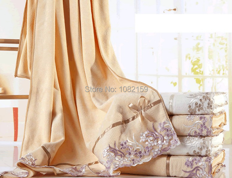 1 Piece 2014 New Hot Sale Microfiber Bath Towel 140x70cm Lace Cheap Beach Towels Bathroom For Adults Gift Free Shipping(China (Mainland))