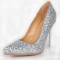 Silver Glitter Wedding Dress Shoes For Women Pointed Toe 2015 Pump Stilettos Designer Women High Heel