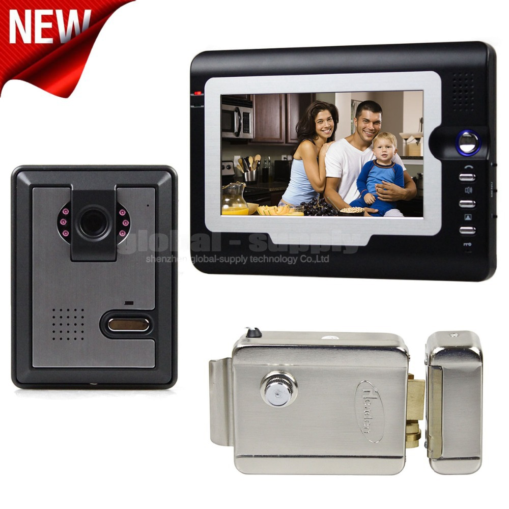 7 Wired Video Door Phone Intercom System Home Security Night Vision Camera Hands Free + Electric Lock<br><br>Aliexpress