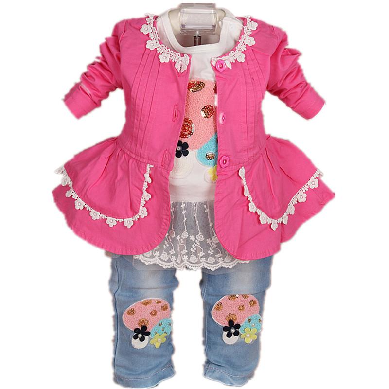 2016 New baby girl clothing set 3pcs girls clothing clothing set girls t shirt kids pants suit set(China (Mainland))