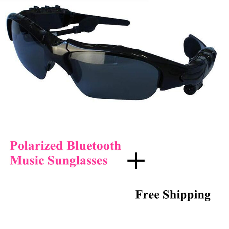 Black Quality Stereo Bluetooth Headset Telephone Polarized Driving Sunglasses/mp3 Riding Eyes Glasses Genuine Free Shipping(China (Mainland))